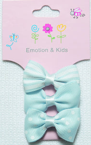 Blue Stripes, Plain & Spots Small Bow Hair Clips - 3 pack