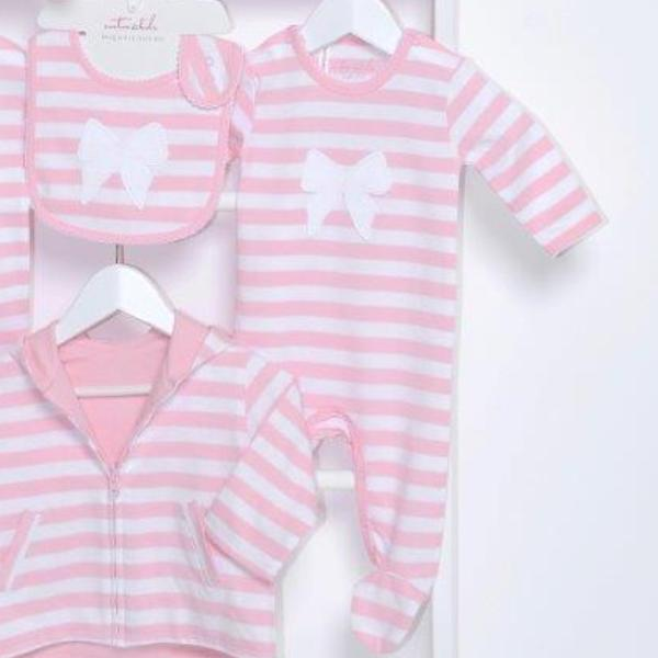Pink Stripe & Bow Footed Outfit