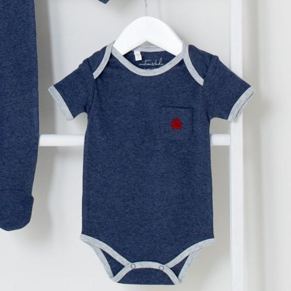 Denim with Red Sailboat Short Sleeve Bodysuit