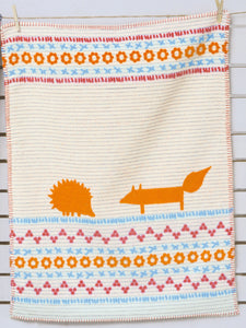 David Fussenegger Off White Hedgehog & Fox Finn Bassinet Blanket