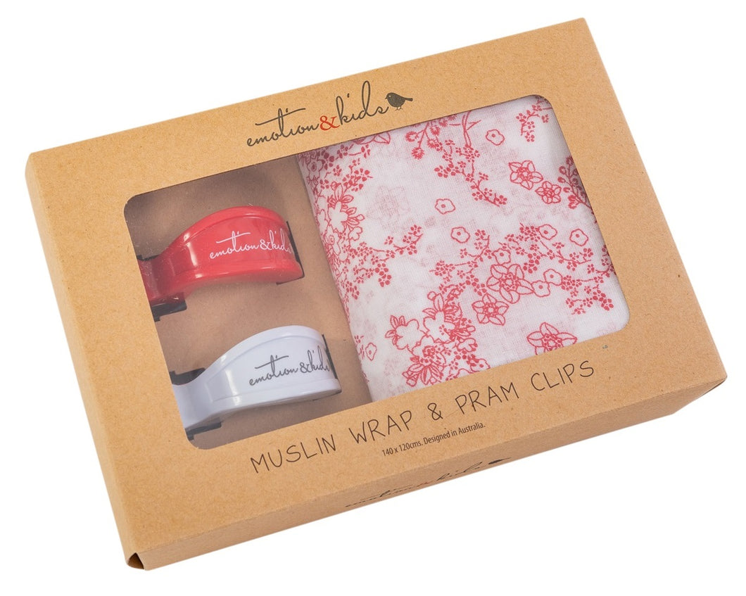 Japanese Blossom Muslin Wrap with Red/White Pram Clip Pack