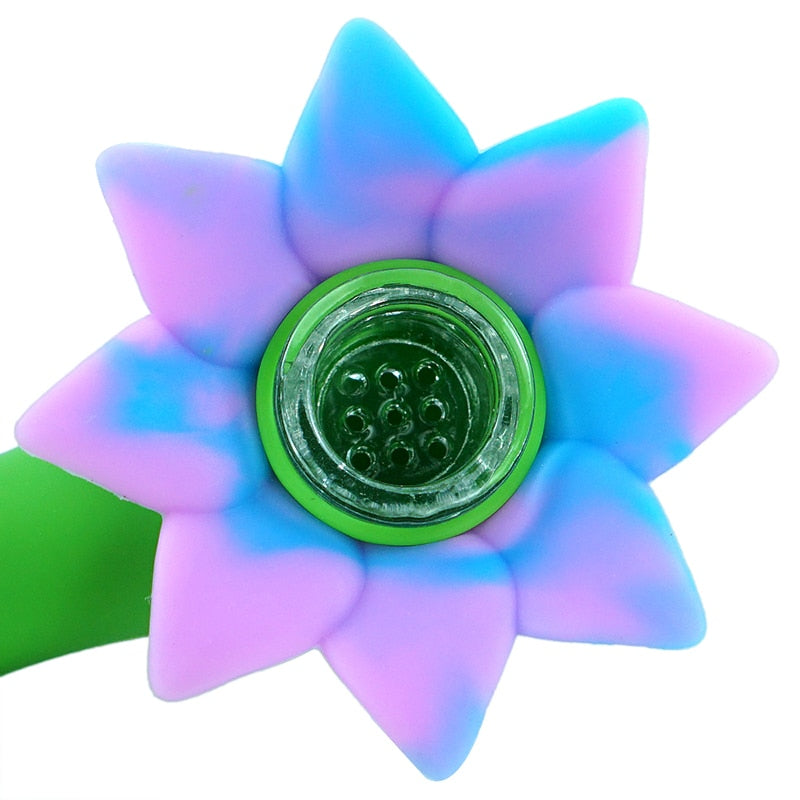 Flower Power Silicone Pipe with Glass Bowl