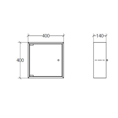 Italian Square Bathroom Cabinet, Glass Door, 400x400mm