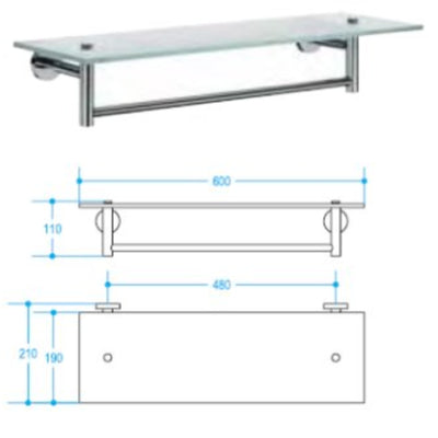 Picola Towel Shelf (Glass), 600x210mm - Interio International