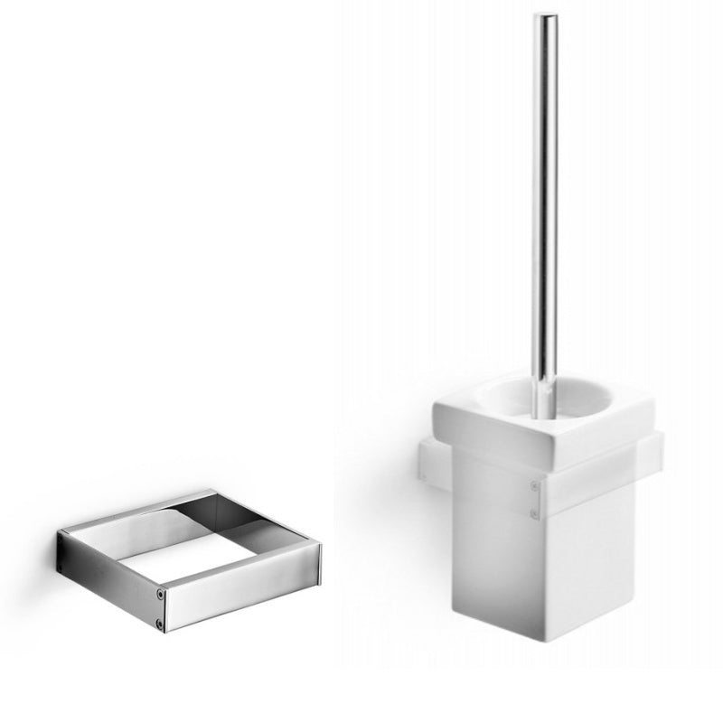 Skuara Ceramic Toiletbrush Holder with Wall Bracket - Interio International
