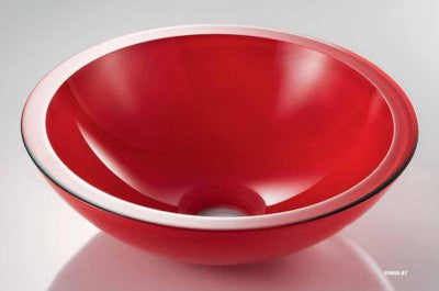 Glass Vessel Basin, Red, Ø 425mm - Interio International