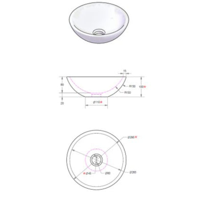 Ceramic Vessel Basin, White, Ø 270mm - Interio International