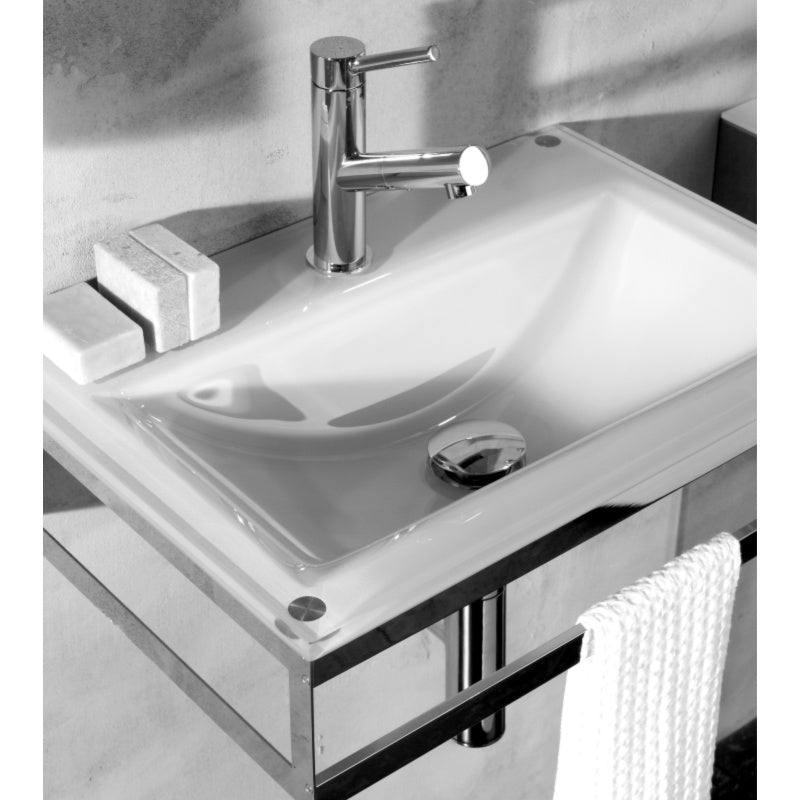 Pocia Glass Basin, Green Ice and Chrome, , 510x355mm - Interio International