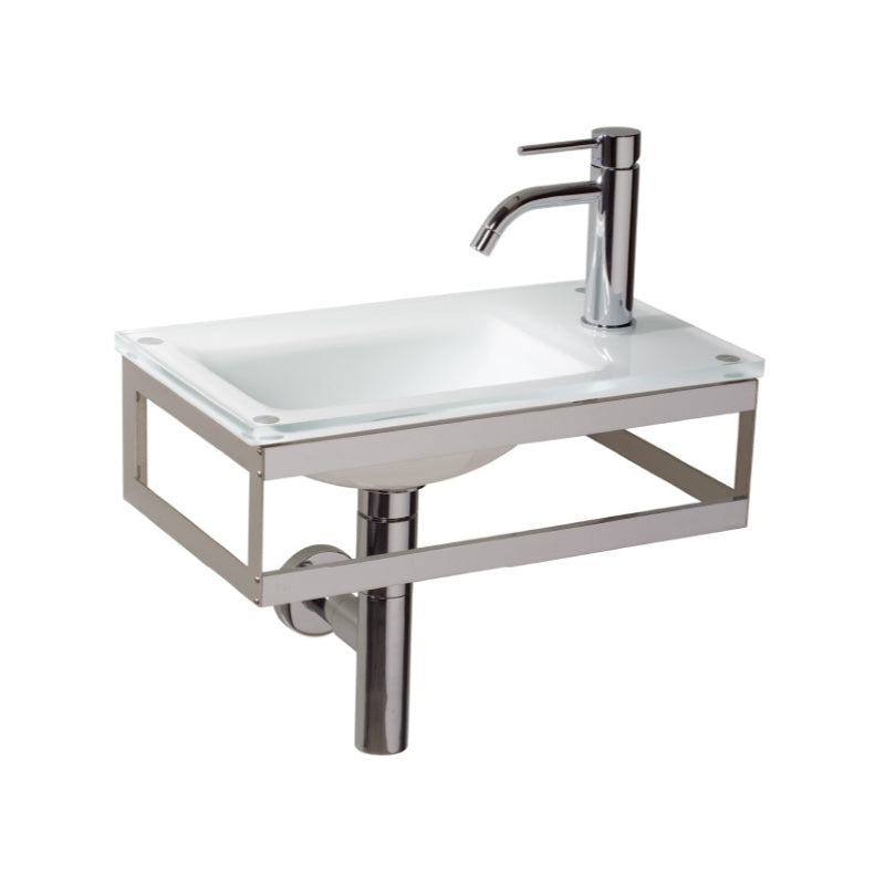Pocieta Glass Basin, White and Chrome, , 450x260mm - Interio International