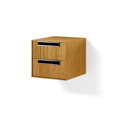 Canavera Bathroom Wall Unit, Natural Bamboo & Chrome, 2 Drawer