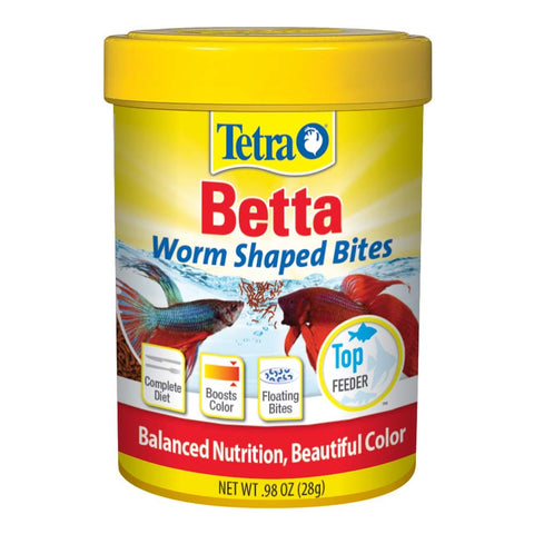 Tetra Betta Worm Shaped Bites 0.98 OZ fish accessories Pets Go Here, petsgohere