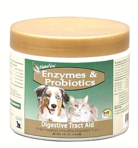 NaturVet Digestive Enzymes Plus Probiotic for Cats & Dogs 4 oz