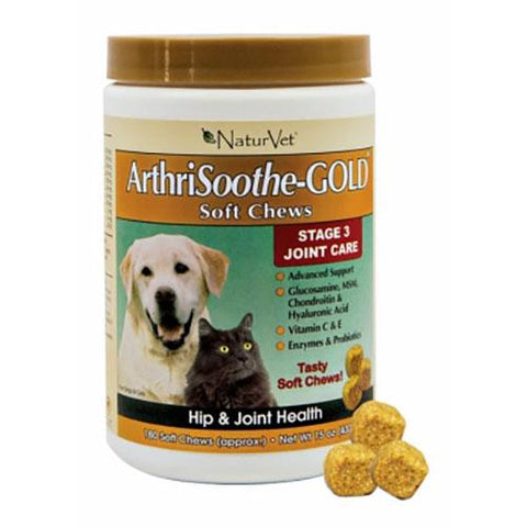 NaturVet ArthriSoothe-GOLD Advanced Care Soft Chews for Dogs & Cats 180 Soft Chews