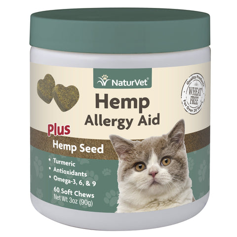 NaturVet Hemp Allergy Aid Cat Soft Chews 60 ct
