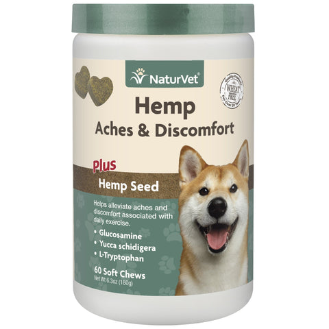 NaturVet Hemp Aches/Discomfort Dog Soft Chews 60 ct