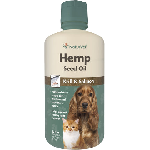 NaturVet Hemp Seed Oil Krill/Salmon for Pets 32 Oz