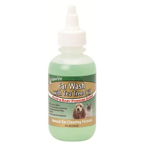 NaturVet Ear Wash with Tea Tree Oil Aloe & Baby Powder Scent 4 Fl oz