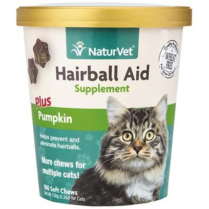 NaturVet Hairball Aid Supplement Plus Pumpkin Soft Chews for Cats 100 Soft Chews
