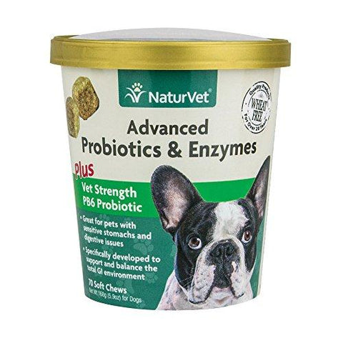 NaturVet Advanced Probiotics & Enzymes Plus Vet Strength PB6 Probiotic for Dogs 70 Ct Soft Chews