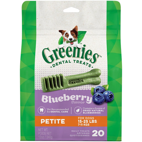 Greenies Bursting Blueberry Dental Dog Treats Petite 20 Count