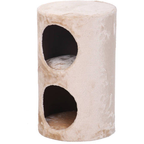 Purr Two storey plush fleece condo hideaway-CAT-PetPals-Pets Go Here beige, brown, cat condo, cream, fleece, PetPals, plush, tan, white Pets Go Here, petsgohere