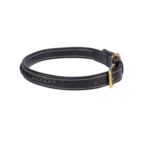 Zack and Zoey Genuine Leather Pharaoh Braided DOG COLLAR BLACK black, braided, collar, dog, dog collar, leather Pets Go Here, petsgohere
