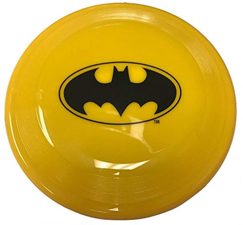 Buckle Down Frisbee Dog Toy Batman Bat Icon YELLOW/BLACK cartoon, character, dog, dog toy, fetch, frisbee, interactive, movie, toy, yellow Pets Go Here, petsgohere