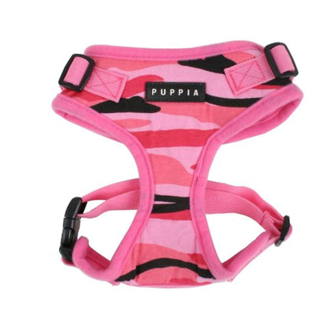 Puppia Combat RiteFit Harness PINK CAMO SMALL adjustable, dc, dog, dog harness, harness, mesh, pink, puppia, velcro Pets Go Here, petsgohere
