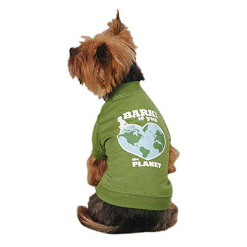 Casual Canine Bark If You Love The Planet Dog Shirt GREEN