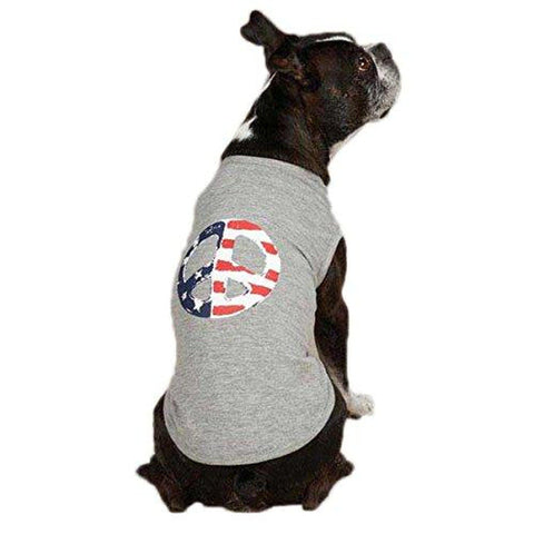 Casual Canine Americana Peace Flag Dog Tank Shirt Gray
