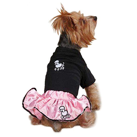 Casual Canine Poodle Skirt 50'S SET PINK BLACK casual canine, dog, dog clothes, dress, fashionable, light pink, trendy Pets Go Here, petsgohere