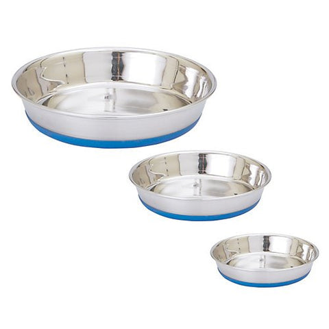 IndiPets Stainless Steel Shallow Heavy Dish with Bonded Rubber Base