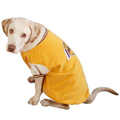 Los Angeles Lakers Dog Varsity Jacket Gold-DOG-Sporty K9-MEDIUM-Pets Go Here gold, jacket, l, lakers, m, nba, s, sports, sports coat, sporty k9, xs, yellow Pets Go Here, petsgohere