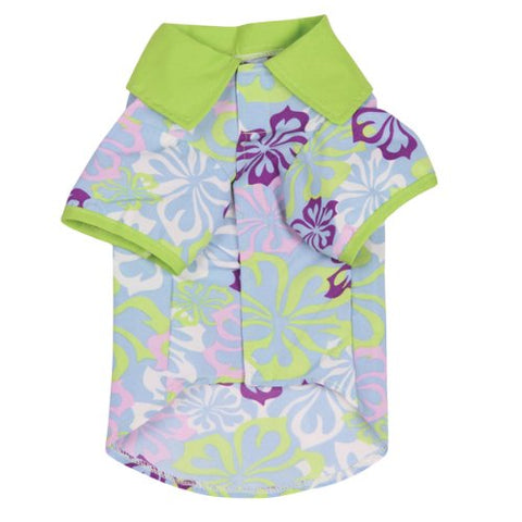 Zack and Zoey Hibiscus Flower Print Dog Shirt GREEN-DOG-Zack & Zoey-MEDIUM-Pets Go Here green, l, m, s, shirt, xl, xs, zack & zoey Pets Go Here, petsgohere