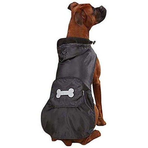 Casual Canine Fleece Lined Stowaway Dog Rain Jacket- BLACK-DOG-Casual Canine-X-LARGE-BLACK-Pets Go Here