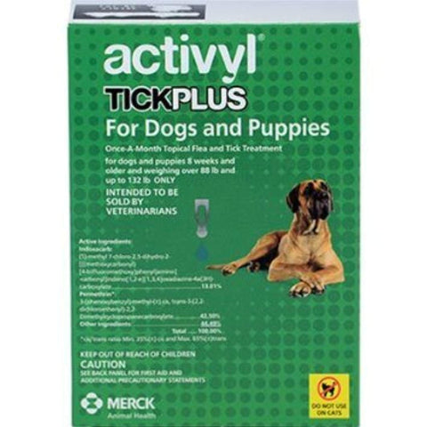Activyl Tick Plus for Dogs and Puppies 89-132 Lb 6 Months