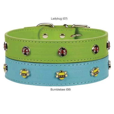 Flutter Bugs Lady Bug Charm Dog Collar Size: 14-18""