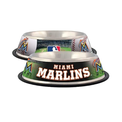 MLB Miami Marlins Dog Bowl BLACK black, dog, doggienation, ds, miami marlins, mlb, mlb bowl, sports, sports bowl, stainless steel Pets Go Here, petsgohere