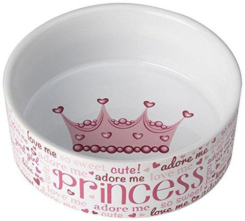 PetRageous Lila's Princess Pink/White 2 Cups Bowl
