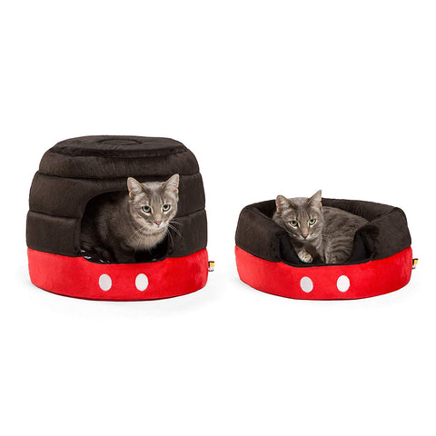 Disney Mickey & Minnie Mouse Dog/Cat Bed Collection Black Mickey Dome