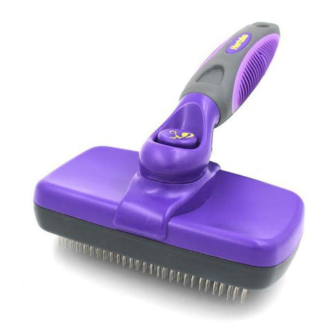 Hertzko Self Cleaning Slicker Brush-Dog-Hertzko-Pets Go Here brush, dog, dog grooming, grooming, hertzko, pet grooming supplies, skin, slicker brush Pets Go Here, petsgohere