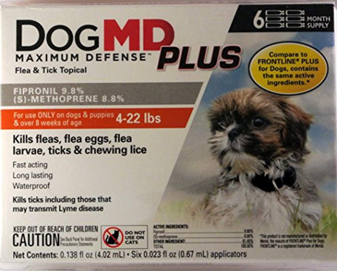 DogMD Plus Flea and Tick Treatment 6 Count 6 month, dog, flea, small, tick, treatment Pets Go Here, petsgohere