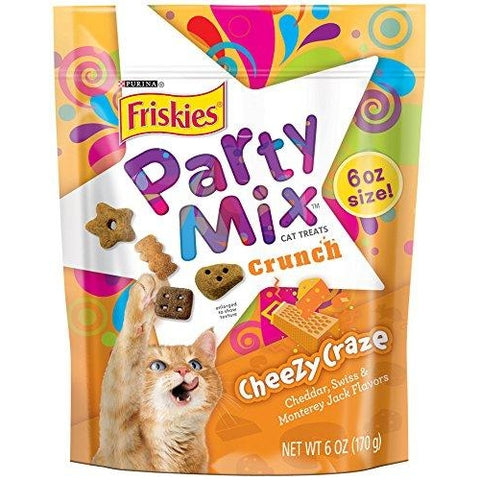 Purina Friskies Party Mix Cheezy Craze Crunch Cat Treats-CAT-Purina-6 Oz Pouch (Pack of 7)-Pets Go Here
