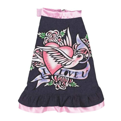 ESC I Love U Denim Dog Dress denim, dog, dog clothes, dress, east side collection, fashionable, light pink, trendy Pets Go Here, petsgohere