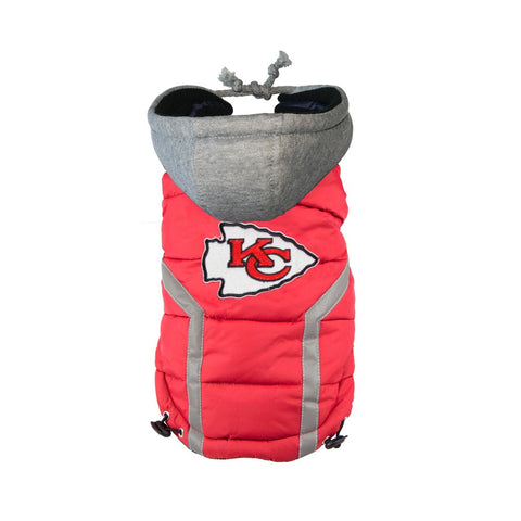 Kansas City Chiefs Dog Puffer Vest Coat w/ Hood-DOG-Hip Doggie-XX-LARGE-Pets Go Here hip doggie, l, m, nfl, reflective, s, sports, sports coat, xl, xs, xxl Pets Go Here, petsgohere