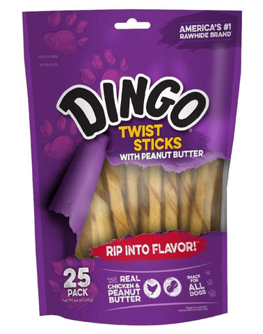 Dingo Twist Sticks with Peanut Butter Rawhide Chew