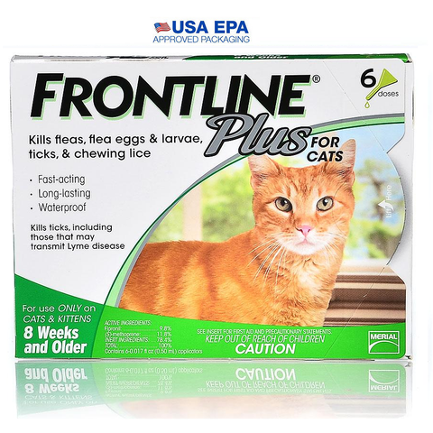 Frontline Plus for Cats-CAT-Merial-6 Month-Pets Go Here 12 month, 6 month, adult, best seller, flea, frontline, lice, merial, over 9 lb, pet meds, tick Pets Go Here, petsgohere