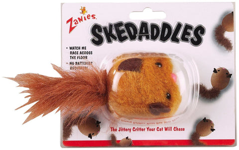 Zanies Plush Skedaddles Cat Toy automatic, cat, cat toy, fun, interactive, mouse, racoon, squirrel, toy Pets Go Here, petsgohere