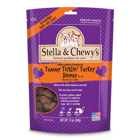 Stella & Chewy's Freeze Dried Food for Cat Standard Packaging Turkey 12 ounce-CAT-Stella & Chewy's-12 Oz-Pets Go Here 12 oz, car, cat, cat treat, freeze-dried, stella & chewy's, treat, turkey Pets Go Here, petsgohere