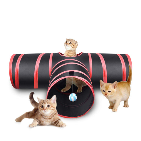 Creaker 3 Way Cat Tunnel, Collapsible Pet Toy Tunnel Ball Cat, Puppy, Kitty, Kitten, Rabbit ball, cat, cat toy, toy Pets Go Here, petsgohere